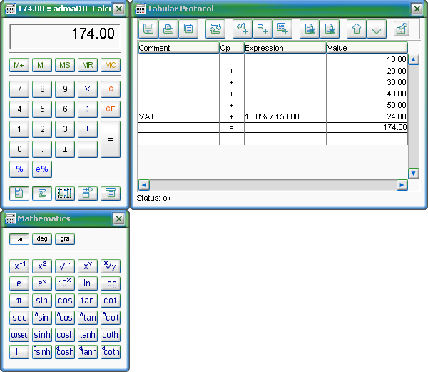 Screenshot vom Programm: admaDIC Calculator