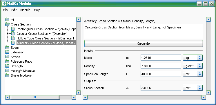 Screenshot vom Programm: MaSCa Module for admaDIC Calculator